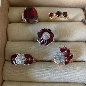 Vintage costume dark red rings